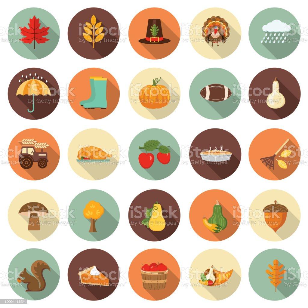 Cute Autumn Icon Set vector art illustration