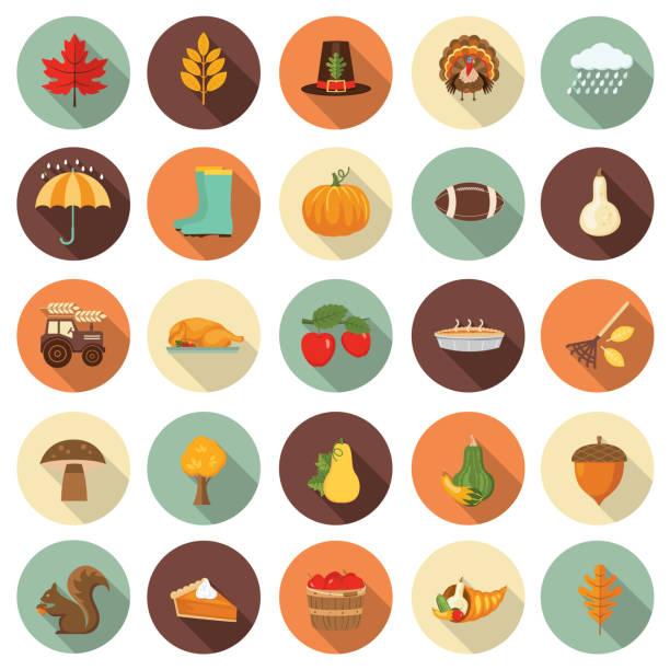 süße herbst-icon-set - flaschenkürbis stock-grafiken, -clipart, -cartoons und -symbole