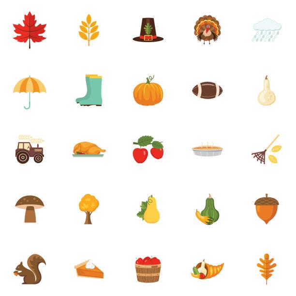 Cute Autumn Icon Set Flat Design Style Autumn Icon Set autumn symbols stock illustrations