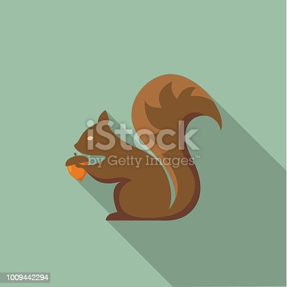 istock Cute Autumn Icon - Squirrel With Acorn 1009442294
