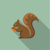 Flat Design Style Autumn Icon - Squirrel With Acorn
