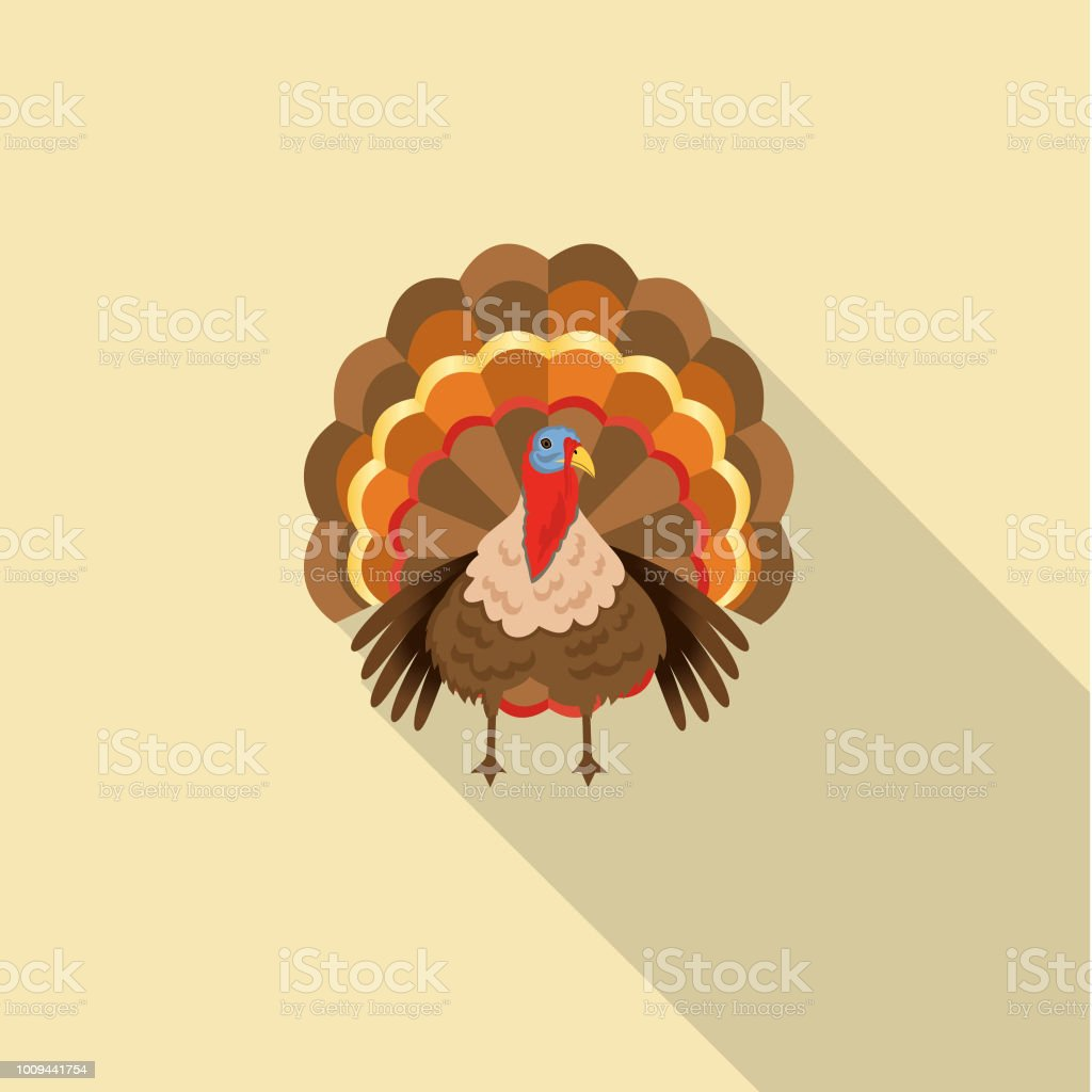 Cute Autumn Icon - Turkey vector art illustration