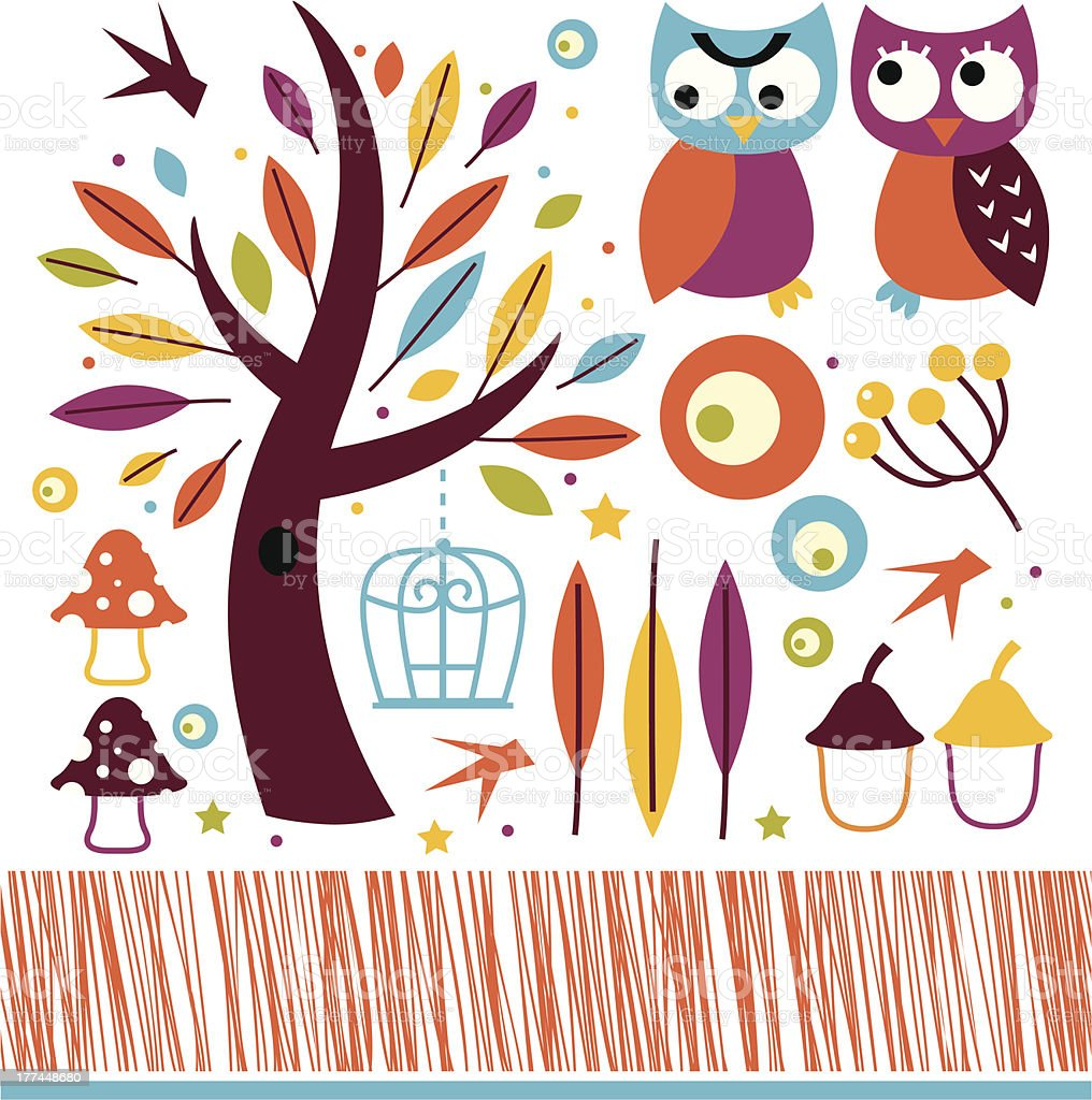 Cute autumn owls and design elements isolated on white royalty-free stock vector art
