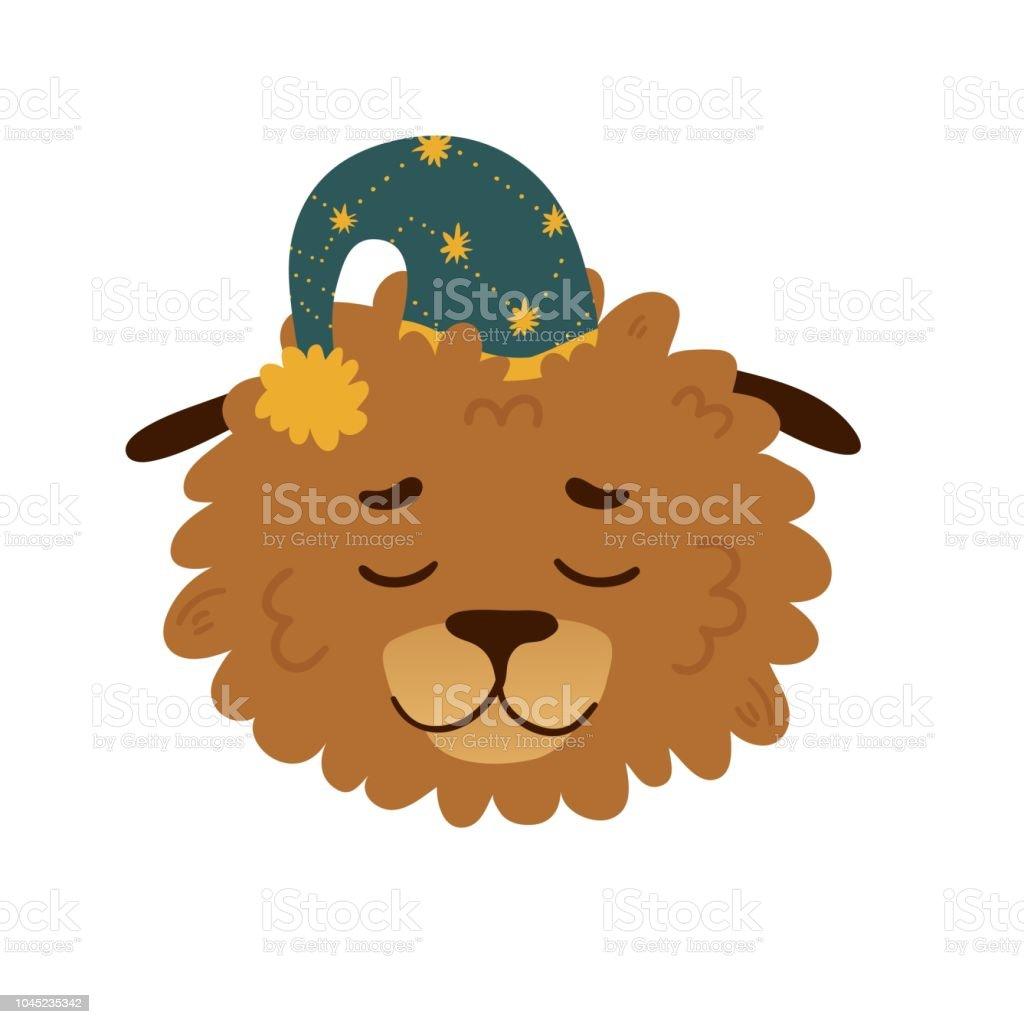 Joli avatar de conception avec un chien de dessin animé de dormir dans un plafond d'étoiles. La conception de l'affiche avec une joyeuse levrette pour chambre d'enfant. Belle impression avec une décoration visage et star du personnage drôle de pe - Illustration vectorielle