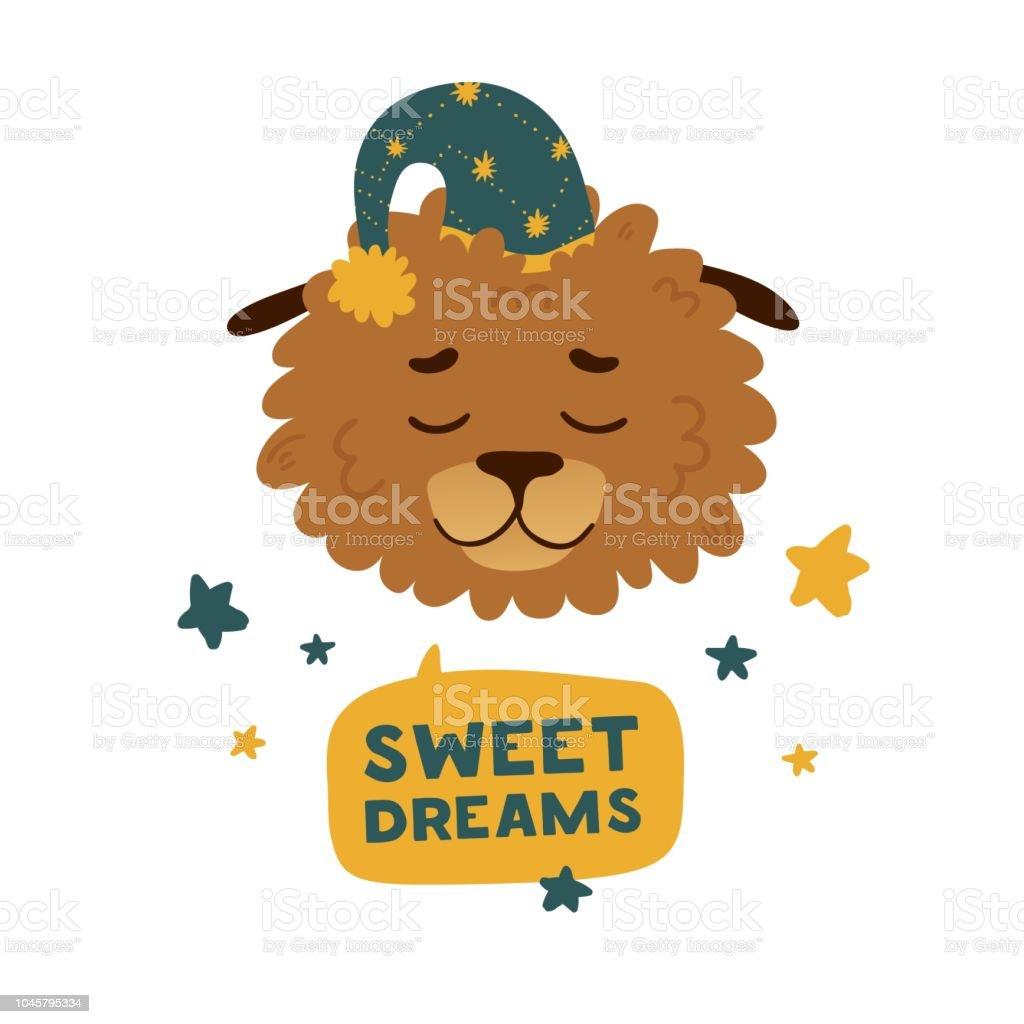 Joli avatar de conception avec un chien de dessin animé de dormir dans un plafond d'étoiles. La conception de l'affiche est «Sweet dream» avec levrette gai. Belle impression avec une décoration visage et star du personnage drôle de petit chie - Illustration vectorielle