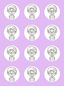 Emoticons characters vector art illustration. Cute avatar icons (Facial expression, Emoticon) of boys wearing a turban in thin-line style.