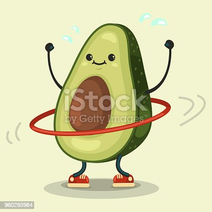 Cute Avocado cartoon character doing exercises with hula hoop. Vector cartoon flat illustration isolated on background. Eating healthy and fitness.