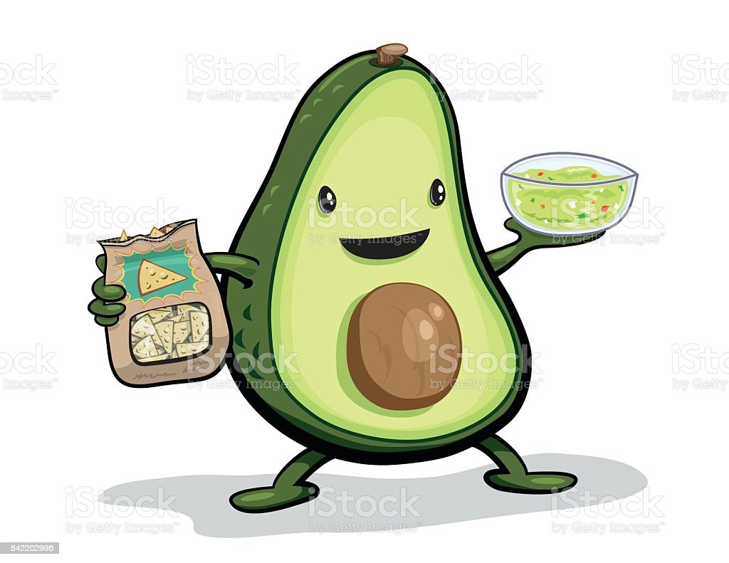 Cute Avocado Cartoon With Bowl Of Guacamole & Chips vector art illustration