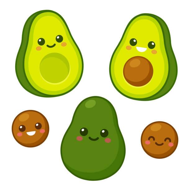 Cute avocado character set Cute cartoon avocado characters set. Whole avocado, cut in half and pit with funny kawaii faces. Isolated vector clip art illustration. avocado stock illustrations