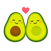 """Cute cartoon avocado couple in love, """"avocuddle"""". Two avocado halves with heart, St. Valentines day greeting card drawing. Isolated vector illustration."""
