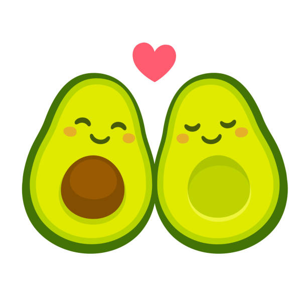 """Cute avocado couple in love Cute cartoon avocado couple in love, """"avocuddle"""". Two avocado halves with heart, St. Valentines day greeting card drawing. Isolated vector illustration. avocado stock illustrations"""