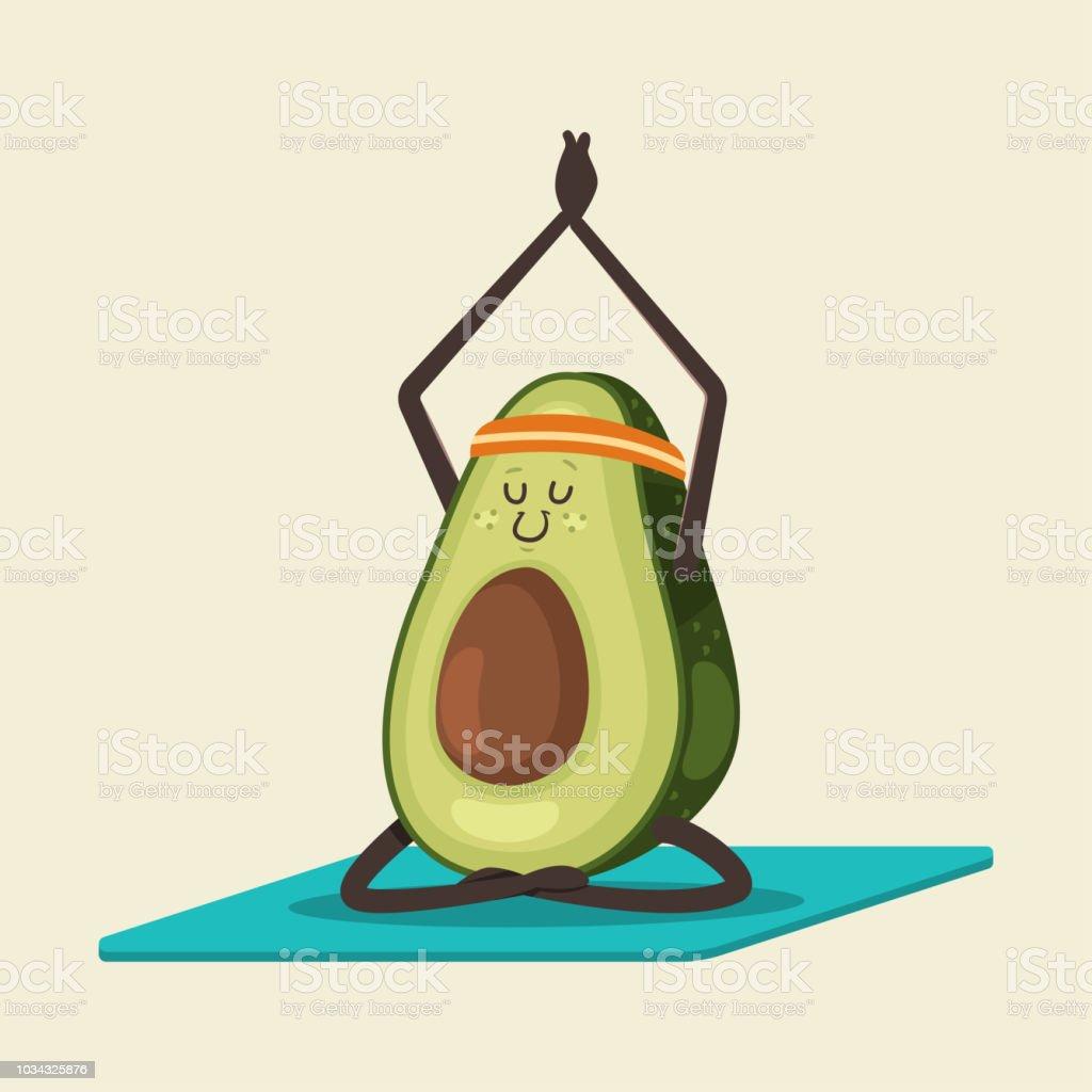 Niedliche Avocado In Yogapose Lustige Vektor Obst Zeichentrickfigur Isoliert Auf Einem Hintergrund Gesunde Ernahrung Und Fitness Stock Vektor Art Und Mehr Bilder Von Avocado Istock