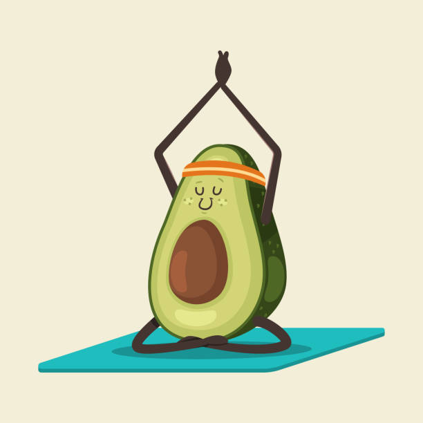 Cute Avocado in yoga pose. Funny vector cartoon fruit character isolated on a background. Eating healthy and fitness. Yoga fruit doing exercises in different poses vector cartoon character. avocado clipart stock illustrations