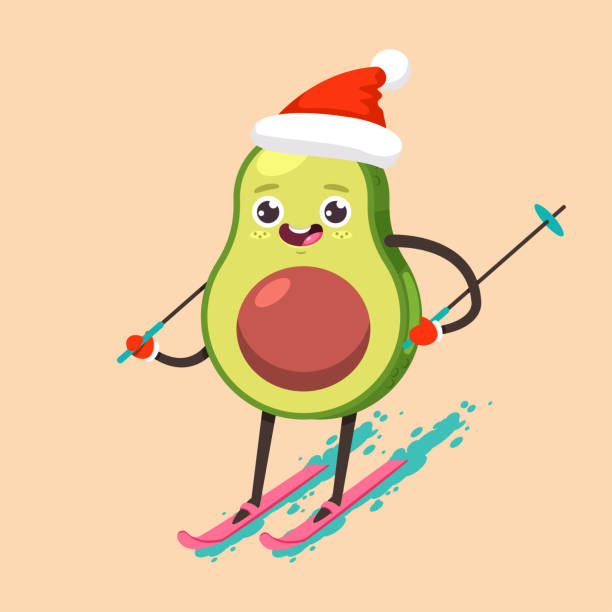 Cute Avocado kid in Santa Claus hat cartoon character skiing. Winter sports and activities. Vector flat funny fruit Christmas illustration isolated on background. Winter sports and activities. Cute kawaii fruit vector cartoon character. avocado clipart stock illustrations