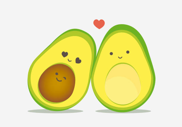 Cute avocado pregnant couple vector. Kawaii style drawings. Cute avocado pregnant couple vector. Kawaii style drawings. avocado patterns stock illustrations
