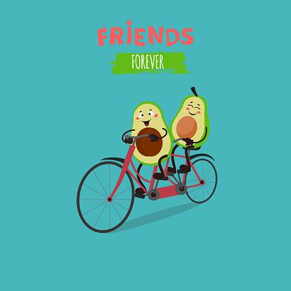 Cute avocado ride a tandem bicycle.