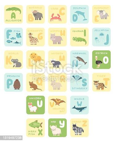Cute A-Z alphabet cards with cartoon animals. Vector zoo illustrations. Alligator, buffalo, crab, dolphin, fish, giraffe, hippo, koala, lion, Muskox, ostrich, penguin, rhino, stingray, tiger, whale