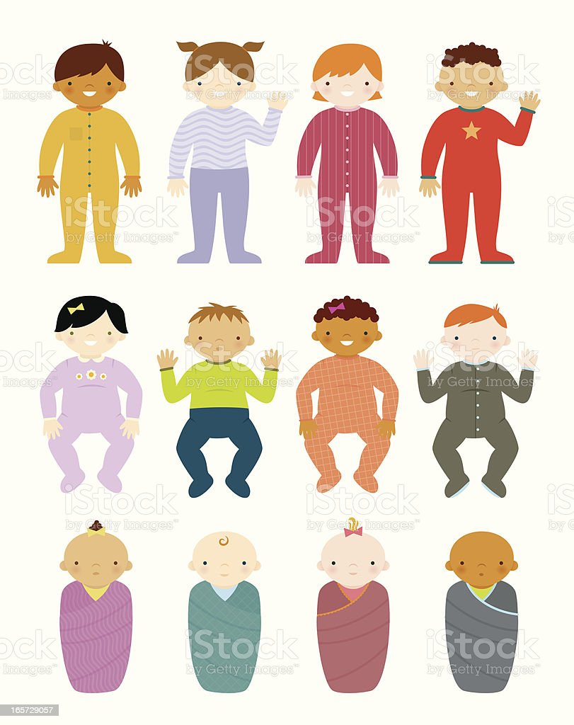 Cute Babies and Toddlers vector art illustration