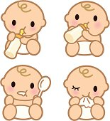 Vector illustration – Cute Babies eating ( Baby drinking from milk bottle ).