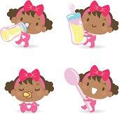 Vector illustration – Cute Babies feeding (eating), drinking from milk bottle, sleeping.