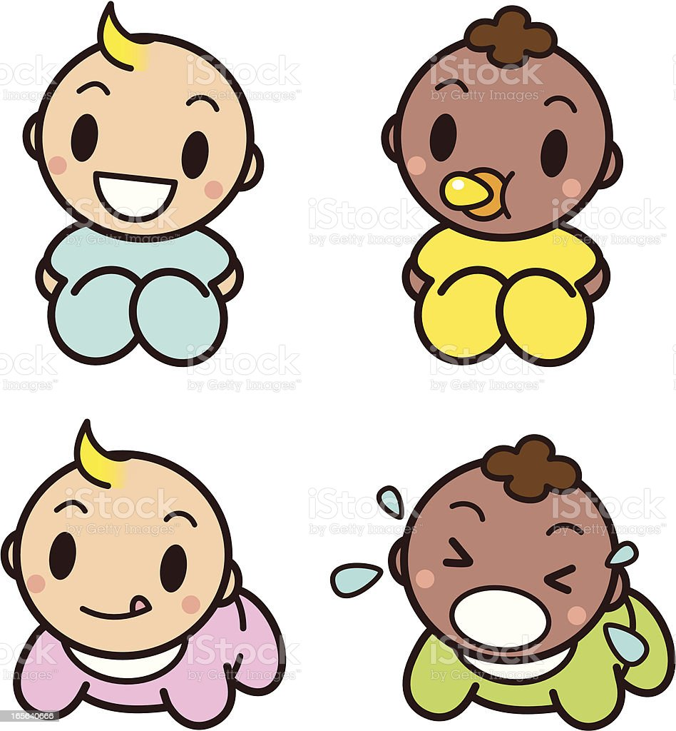 Cute Babies vector art illustration