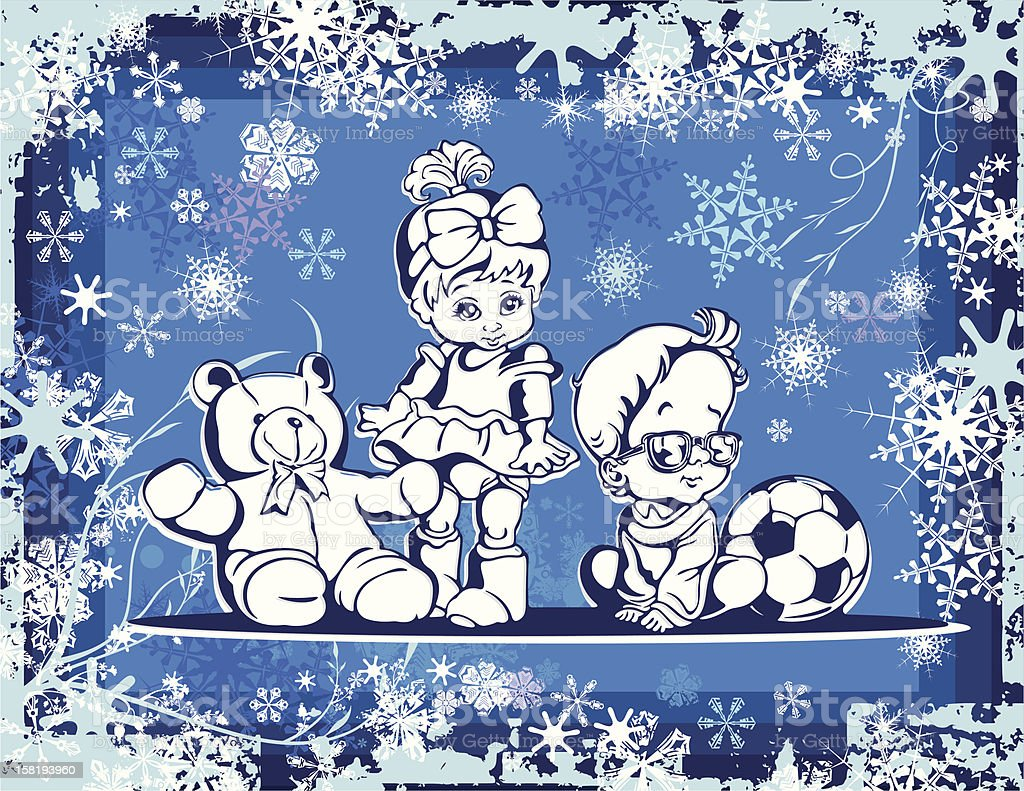 Cute Babies Vector Illustration over Winter Background royalty-free stock vector art