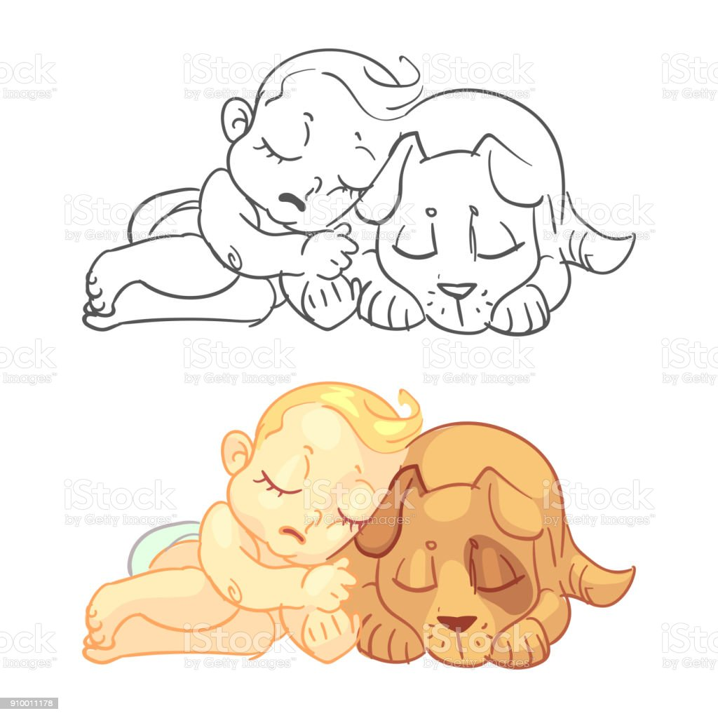 Cute Baby And Dog Coloring Page With Colorful Sample Stock Vector ...