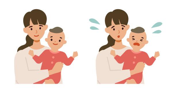 かわいい赤ちゃんとお母さん微笑んで心配。 - シングルマザー点のイラスト素材/クリップアート素材/マンガ素材/アイコン素材