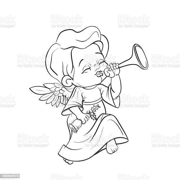 Cute Baby Angel Making Music Playing Trumpet Stock