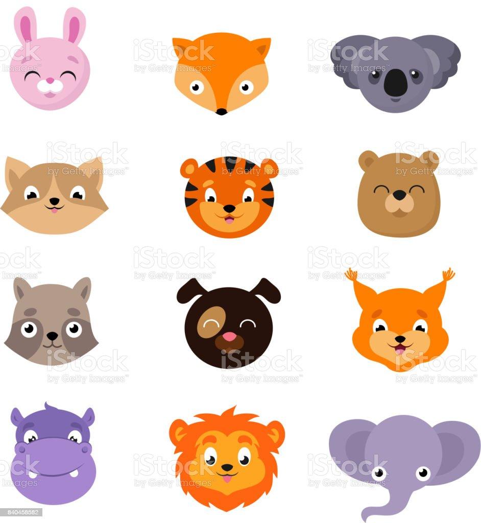 かわいい赤ちゃん動物顔ベクター セット - お面のベクターアート素材や