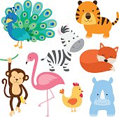 Vector illustration of cute baby animal including peacock, flamingo, zebra, tiger, fox, monkey, chicken and rhino.