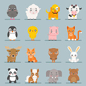 Cute baby animals cartoon cubs flat design icons character set vector illustration