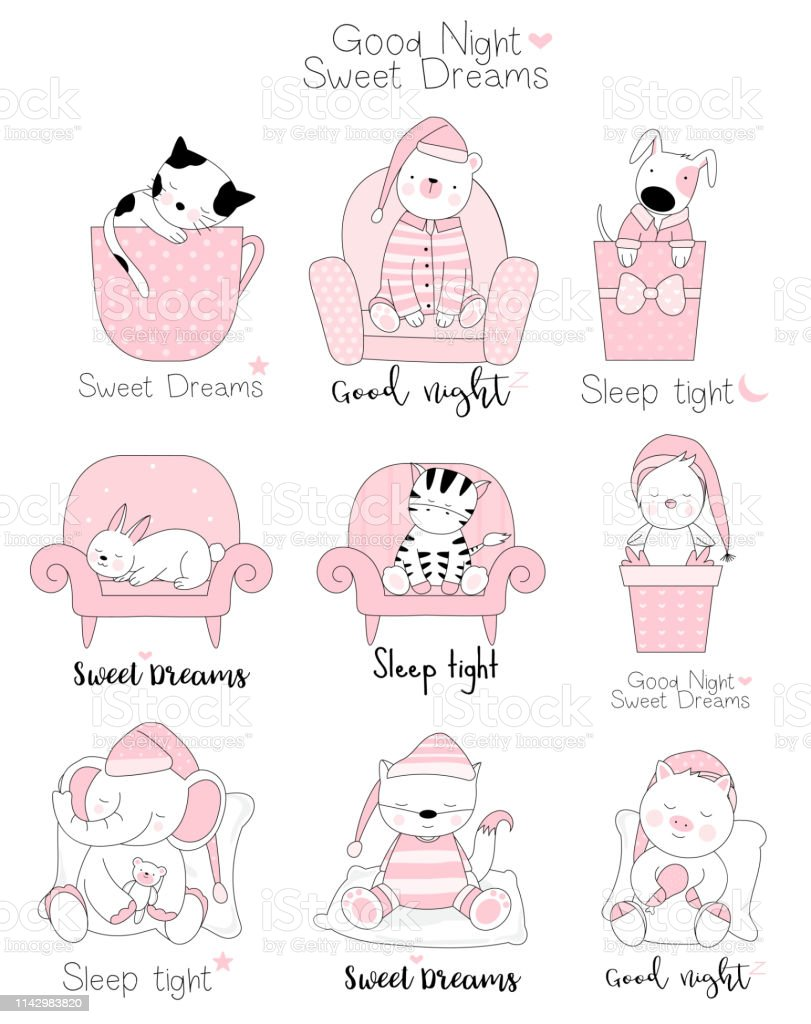 Cute baby animals cartoon hand drawn style,for printing,card, t...