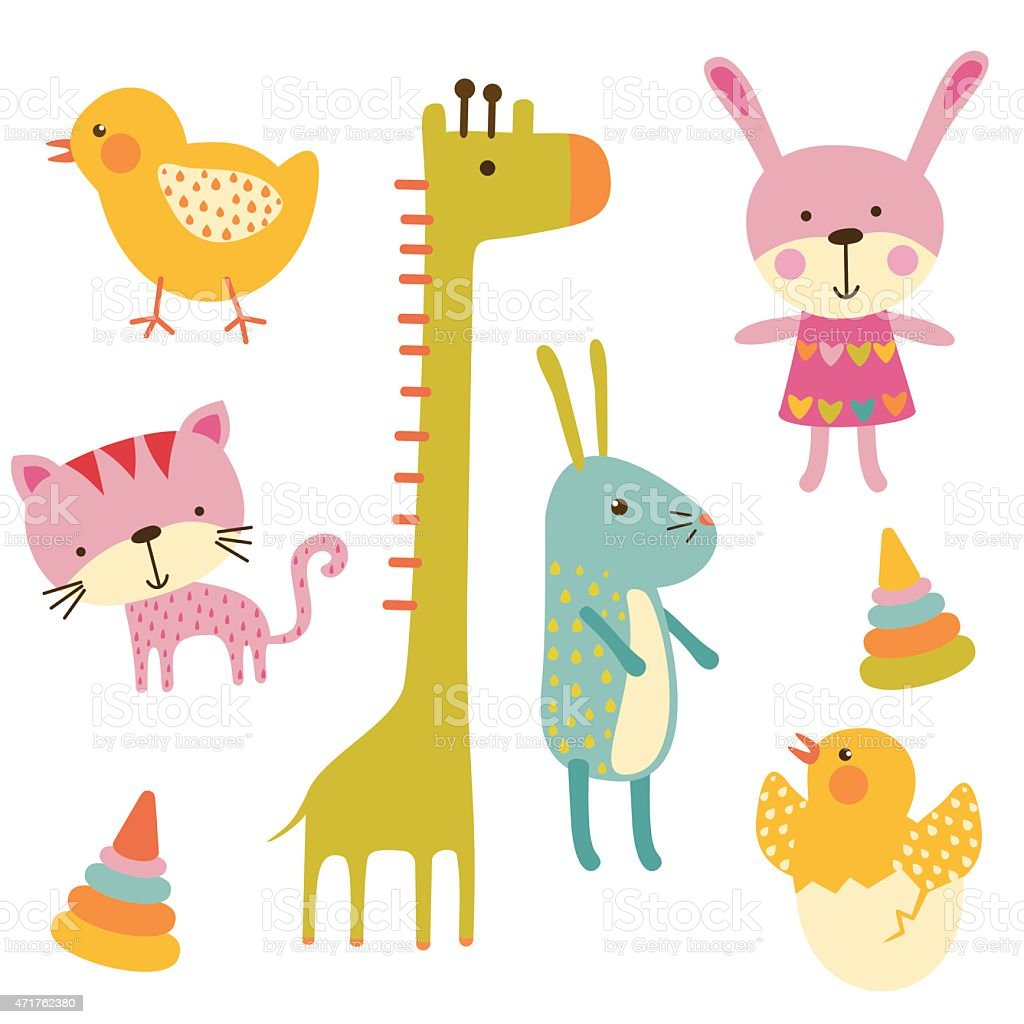 Cute Baby Animals Colorful Vector Set Stock Vector Art