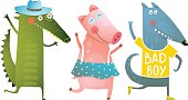 Cute Baby Animals Crocodile Pig Wolf Dancing Wearing Clothes