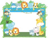 cute baby animals frame vector