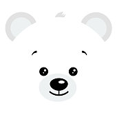 Cute baby arctic polar bear face logo vector illustration isolated on white background. Animal symbol smiling bear head image. Adorable funny mascot character in cartoon flat style.