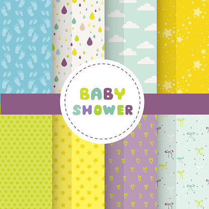 Cute Baby Background. Seamless Pattern. Vector Background. Colorful Background