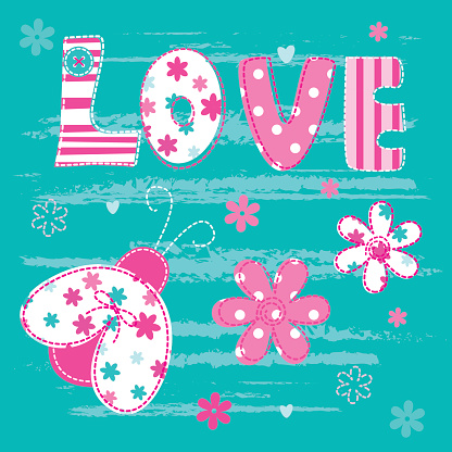 Cute baby background with letters and  ladybug