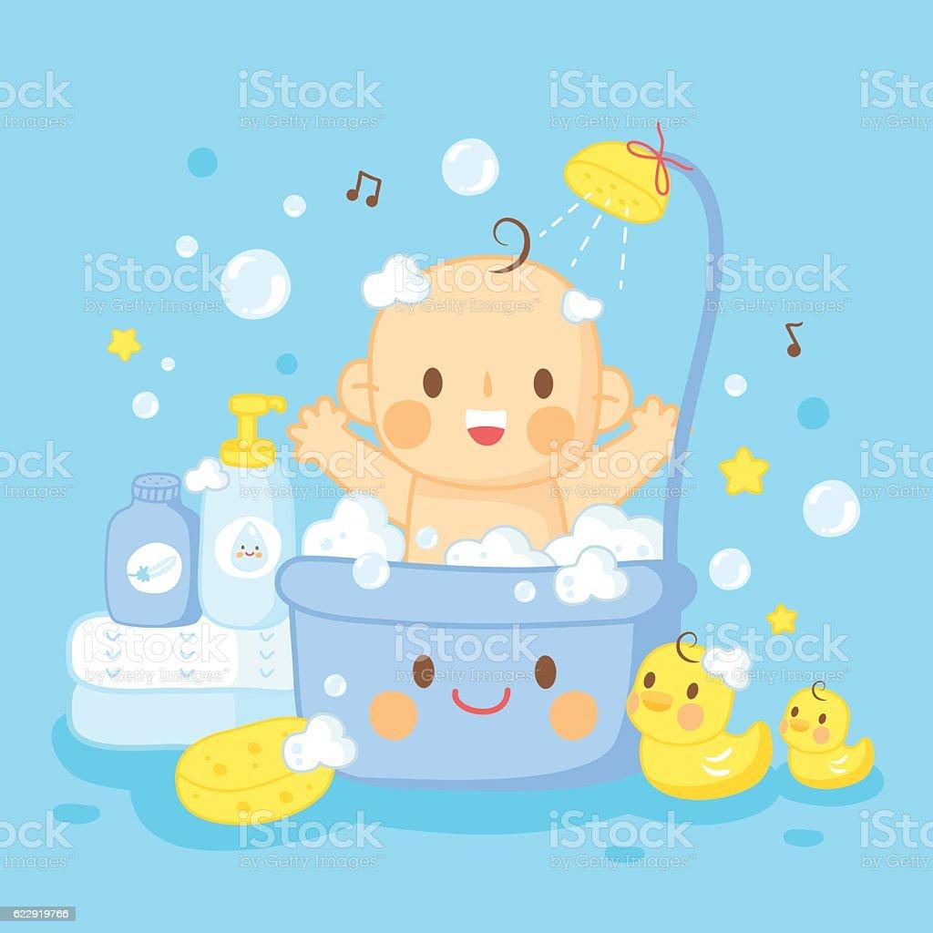 cute baby bath shower - ilustração de arte em vetor