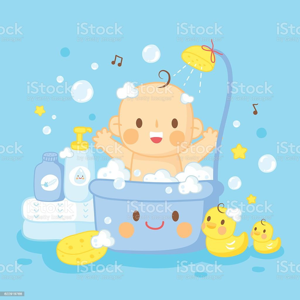 cute baby bath shower vector art illustration