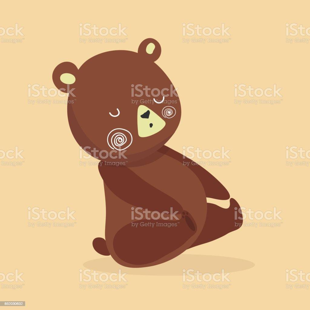 Cute baby bear cartoon. vector art illustration