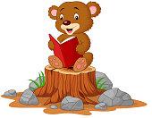 Vector illustration of Cute baby bear reading book on tree stump
