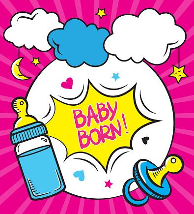 Cute baby born greeting card