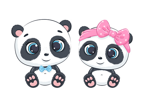 Cute baby boy and baby girl panda. Vector illustration for baby shower, greeting card, party invitation, fashion clothes t-shirt print.