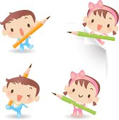 Vector illustration - Cute Baby Boy And Girl Holding Pencil.