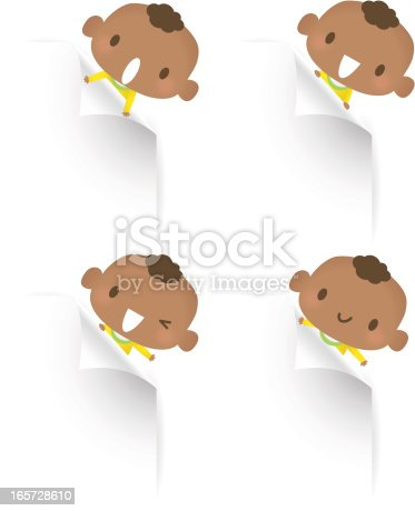 Vector illustration - Cute baby boy holding blank sign showing something.