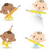 Vector illustration - Cute Baby Boy Holding Pencil.