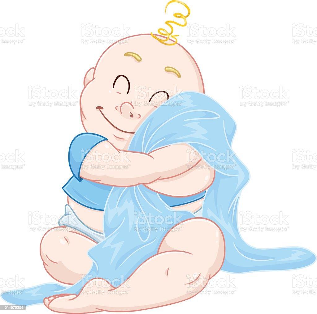 Cute Baby Boy Hugs Blue Blanket vector art illustration