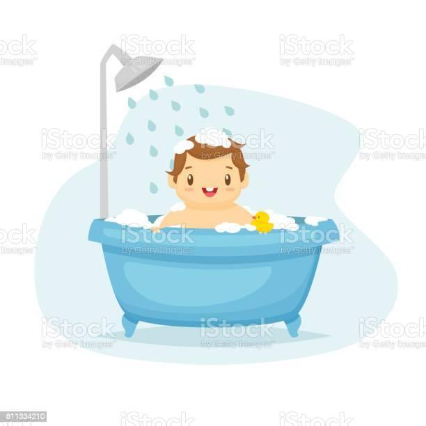 Cute Baby Boy Wrapped In Bath Towel Stock Vector